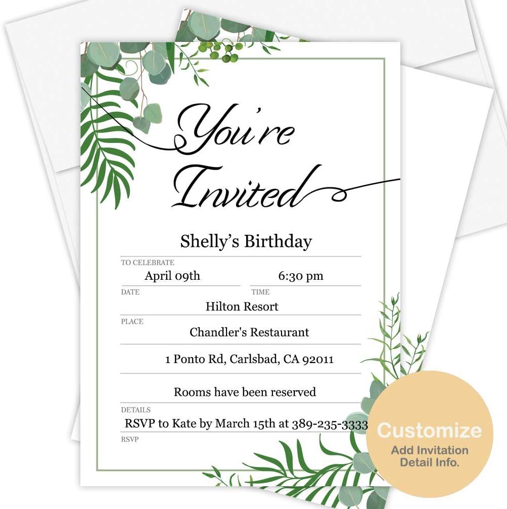 Amazon Com Custom Invitation Cards 50 Pack Envelopes