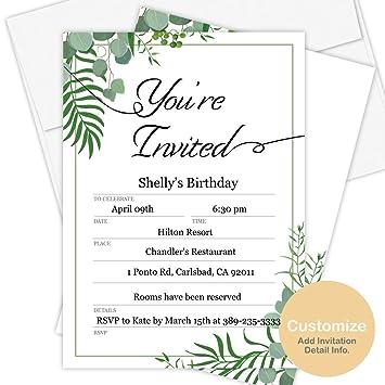 Amazon.com: Tarjetas de invitación personalizadas – 50 ...