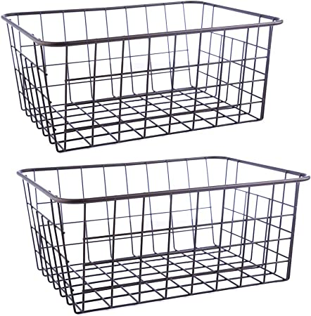 Bacs pour organiseur de fil Rangement chambre M /& W cuisine ou salle de bain Lot de 2 paniers de rangement en treillis Tablettes m/étalliques polyvalentes