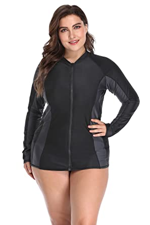 12058ded5ca74 Vegatos Women s Plus Size Long Sleeve Zipper Rash Guard UV Shirts Swimsuit  Top at Amazon Women s Clothing store