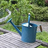 Calunce 6.5L Double Wooden Handle Fashion Rustic Retro Textured Gardening Tools Long Spout Watering Can (blue)