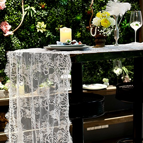 Vintage Summer Wedding Table Runner 30 x 120 Inch, Premium White Lace Table Runner for Wedding Bridal Shower Decorations, Lace Tablecloth for Wedding Table Reception, Baby Shower (Bow Wow Bag)