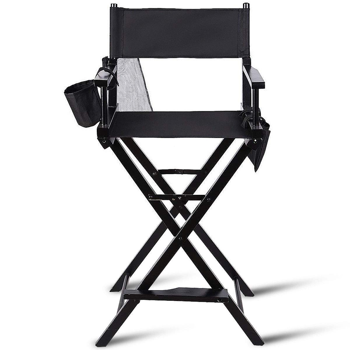 "TANGKULA Directors Chair 30"" Height Lightweight Foldable Portable Black Wood Frame with Storage Bag Footrest Home Commercial Makeup Artist Chair (Black)"