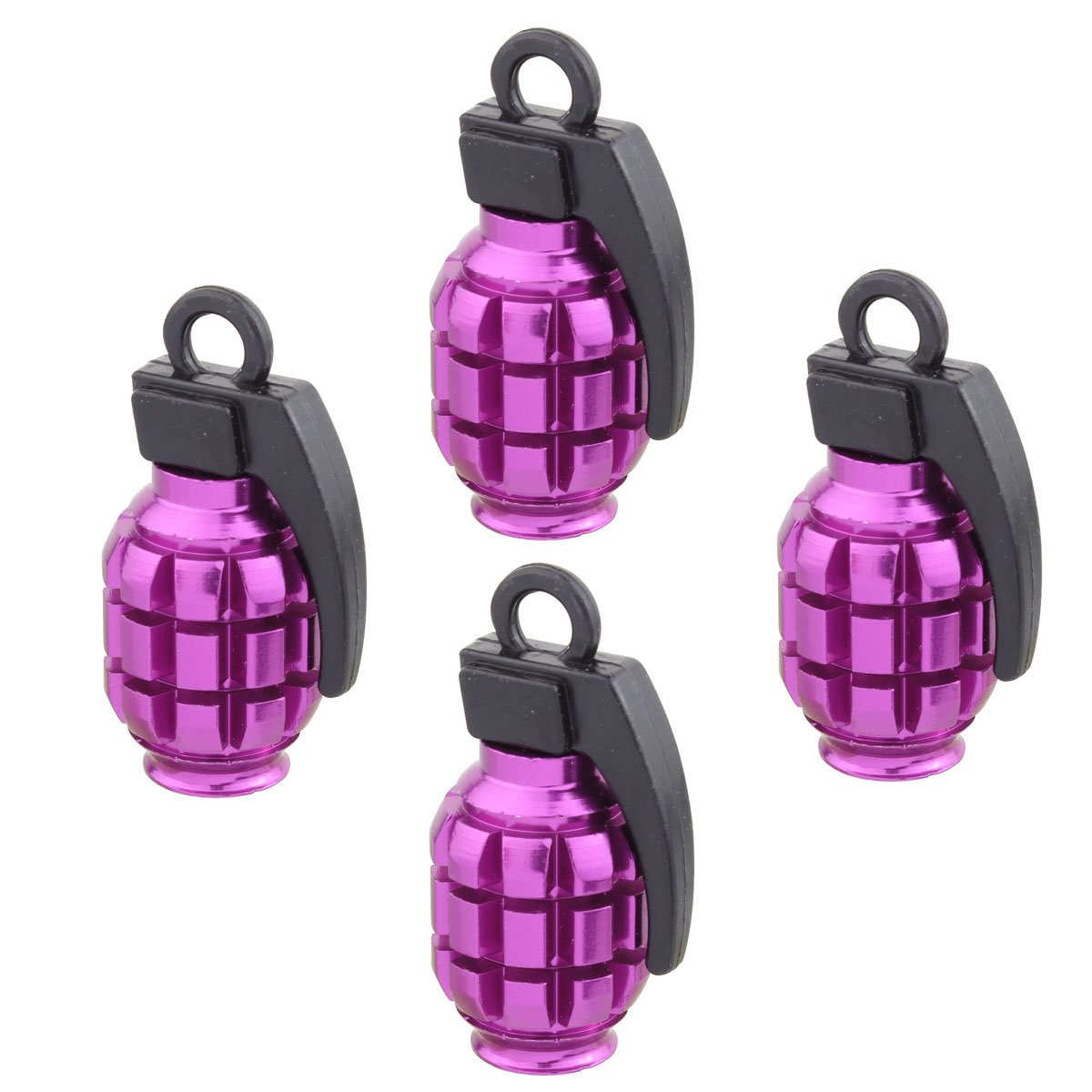 TOMALL Grenade Style Volant Valve Caps pour Voiture Auto En Alliage Daluminium Antipoussi/ère Couverture 4 pcs Argent