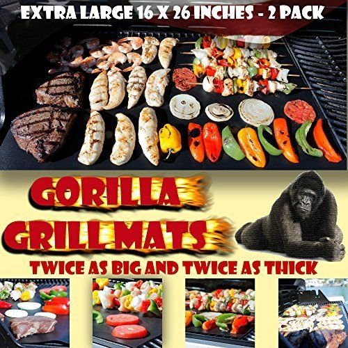 GORILLA GRILL MATS Huge Double Sized 16x26, Twice as Thick, Twice as Strong - 2 Pack - Equal to 4...