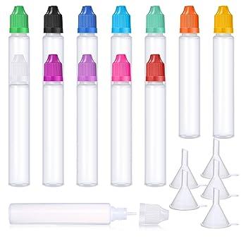 12 Piezas 1 Onza/ 30 ml Botella de Líquido Cuentagotas con Punta Delgada de Plástico
