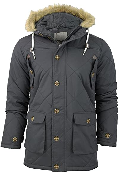 1601c85f6e1 MENS BRAVE SOUL CHELTENHAM QUILTED PADDED HOODED PARKA JACKET COAT SIZE S  TO XL (S