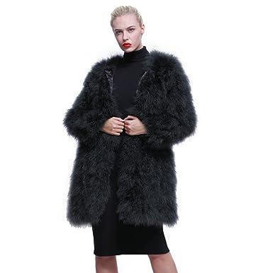 14532cb36b1 URSFUR Women Winter Jacket Real Ostrich Feather Fur Coat Multicolor ...