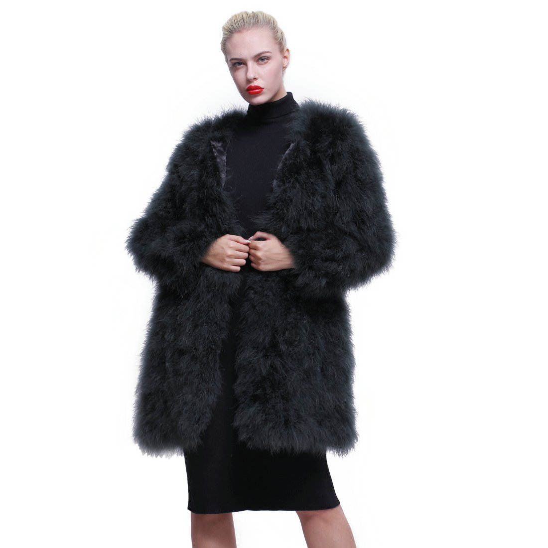 URSFUR Women Winter Jacket Real Ostrich Feather Fur Coat Opal Green XL
