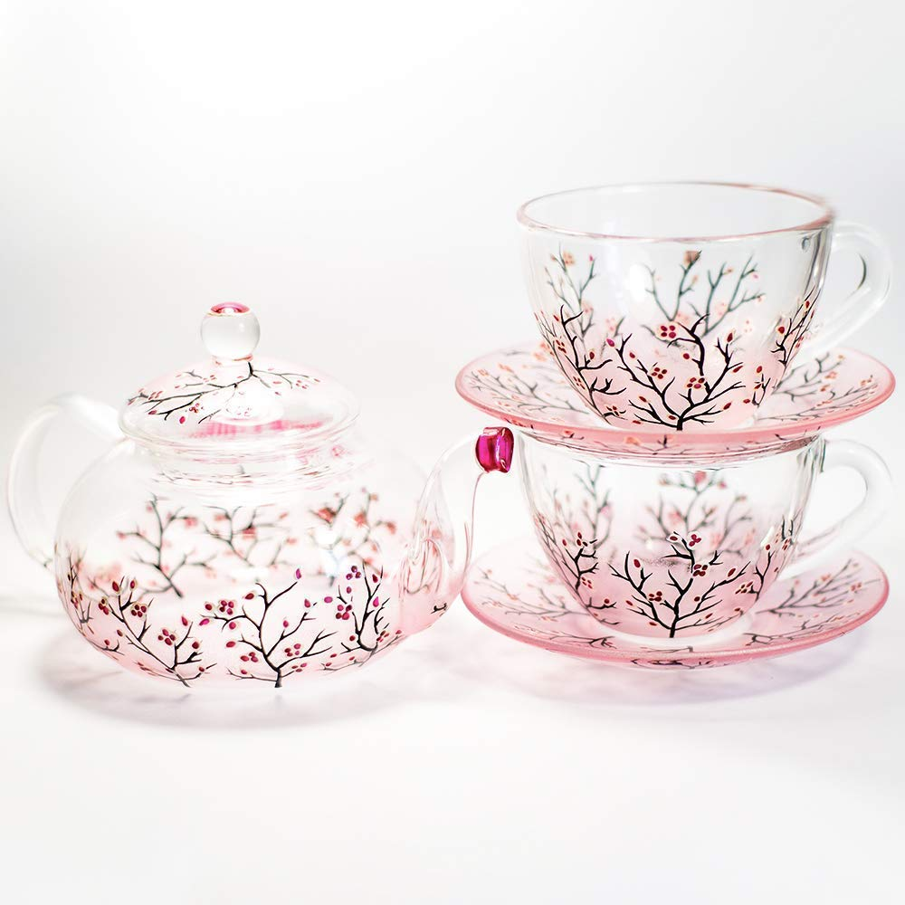 3 sizes to choose Hand Painted Cherry Blossom Sakura Teapot Glass Tea Pot with Removable Infuser Handmade Floral Wedding Gift Free Personalization