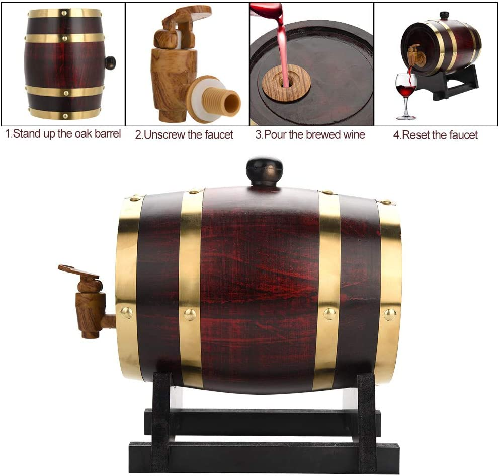 Oak Barrel Vintage Wood Oak Timber Wine Aging Barrel for Beer Whiskey Brandy Tequila Rum Port 1.5L