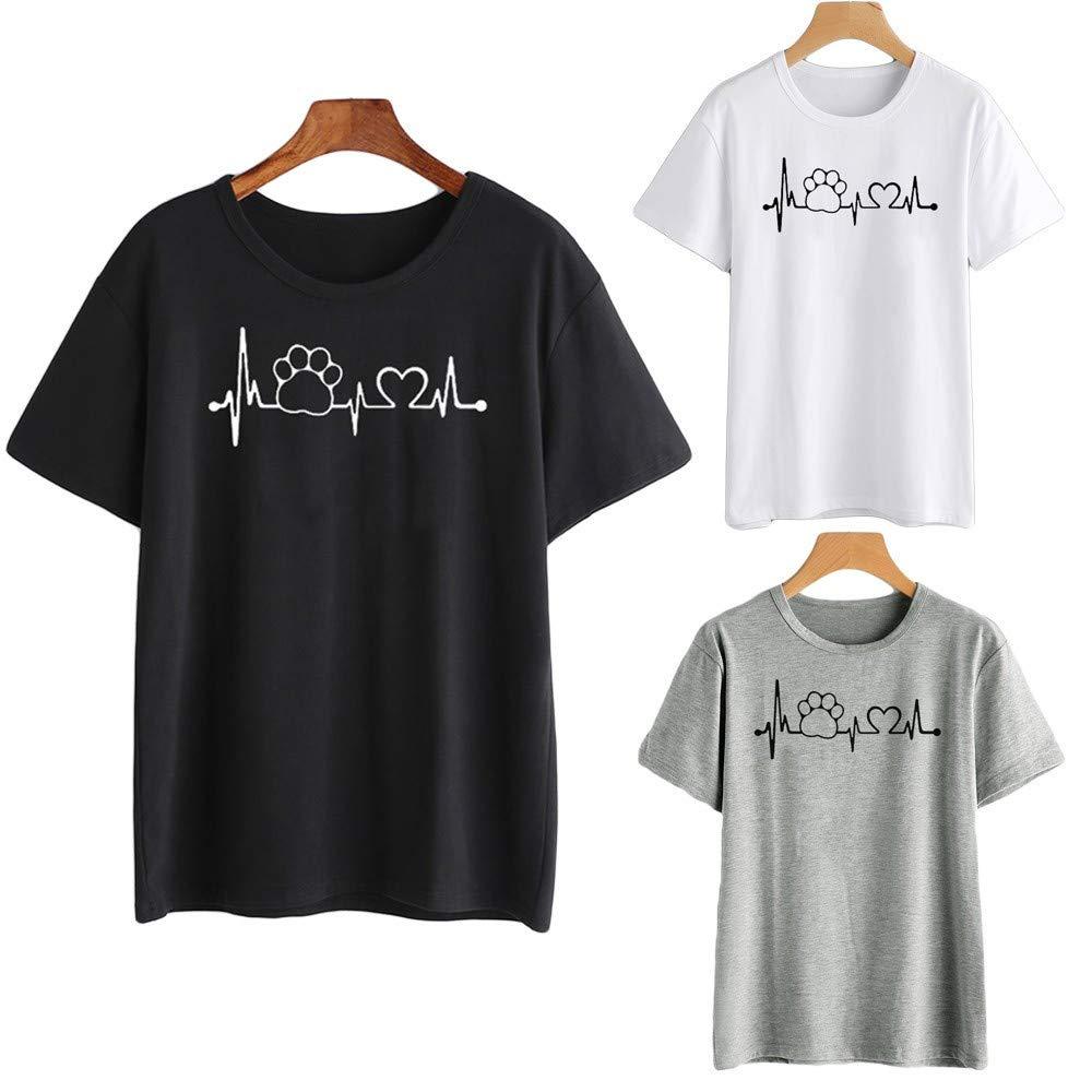 Camisetas de Mujer Manga Corta EUZeo Ofertas 2019 Verano Blusa Suelta De Mujer Camiseta con Estampado de Corazones Escote Tops Basica Fiesta Moda T-Shirt Original tee Women