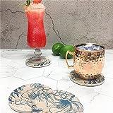 Enkore Coasters Set of 6 - Absorbent Ceramic Stone