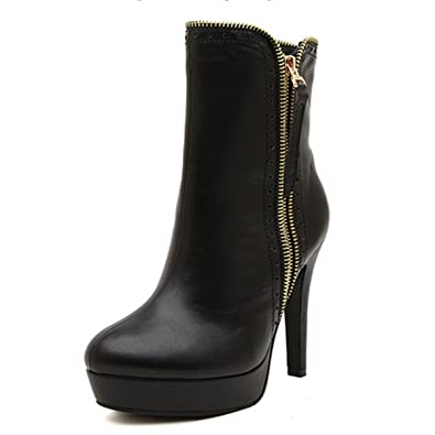 cc1483018b520 DLHH Ladies Womens Fashion Cold Weather Platform Spike Heel High Heel  Leather Pumps Shoes Ankle Boots