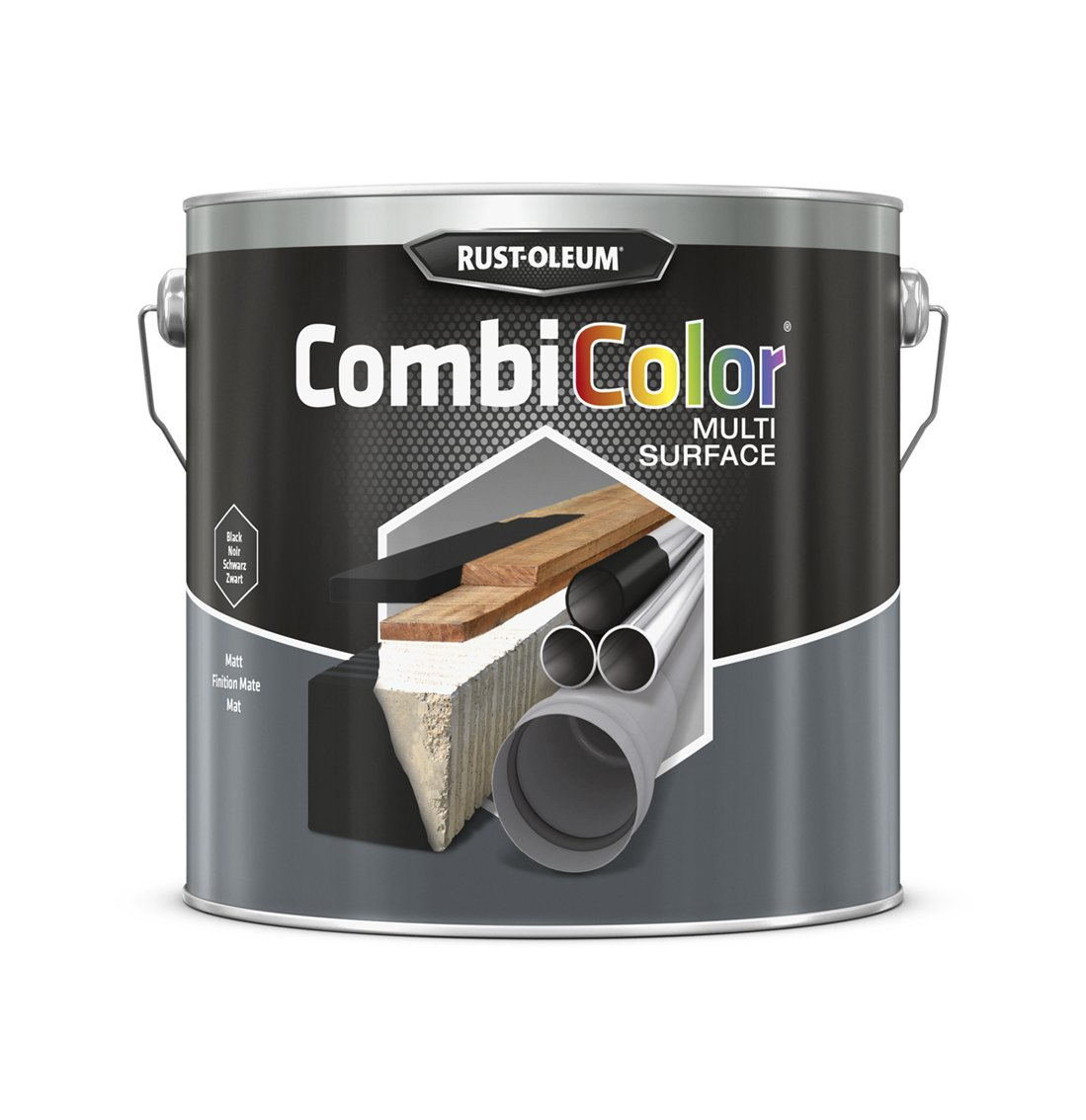 RUST-OLEUM 7378MS.2.5 Combicolor Multi-Surface, One Paint, Many Surfaces, Matt black
