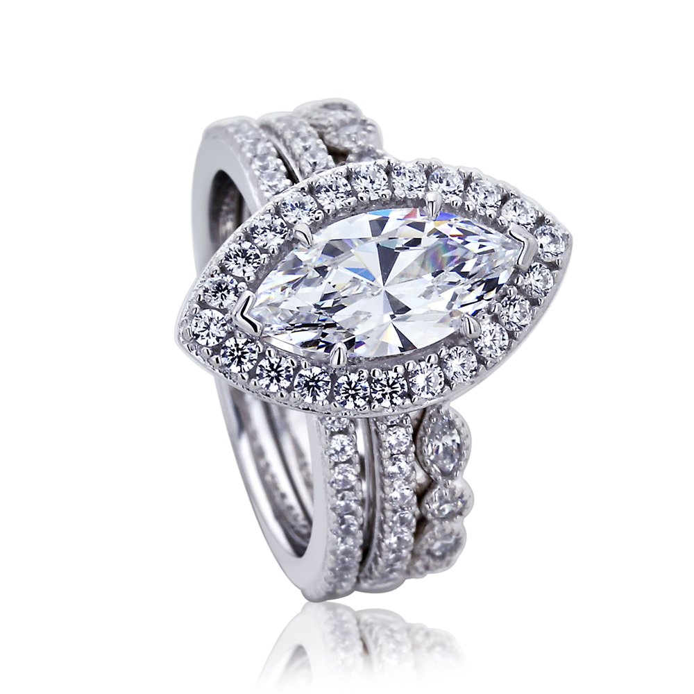 Platinum Plated Sterling Silver 1.5 cttw Center Marquise CZ Two Style Matching Ring Set ( Size 5 to 9 ), 5