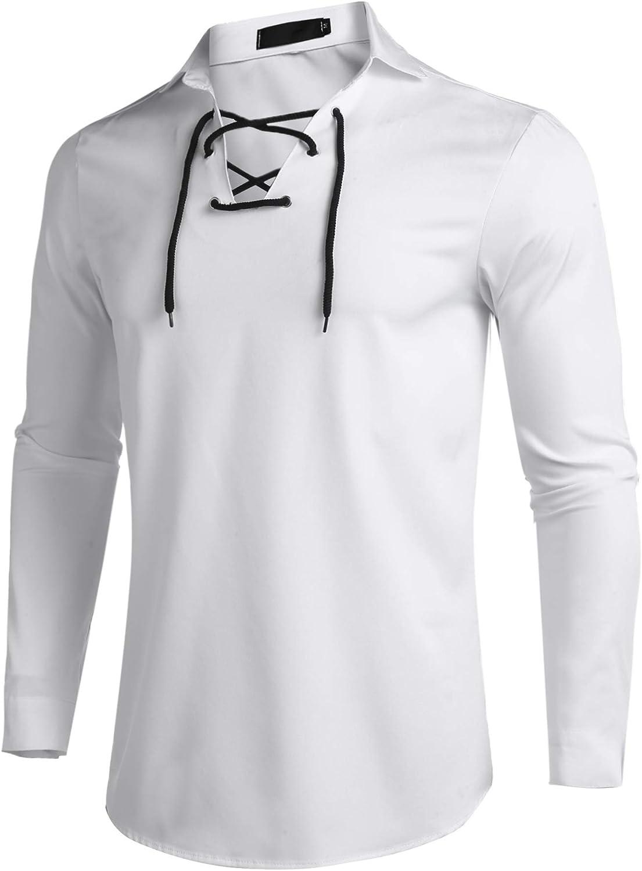 COOFANDY - Camisa informal para hombre, diseño de jacobite ghillie, con cordones, pirata gótico, renacimiento medieval Blanco blanco L: Amazon.es: Ropa y accesorios
