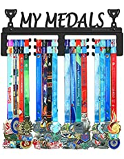 BORNTOWIN My Medals Holder Display Hanger Rack Frame,Black Sturdy Steel Metal,Easy to Install Wall Mounted Over 50 Medals Metal Clothes Hooks