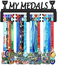 BORNTOWIN My Medals Holder Display Hanger Rack Frame,Black Sturdy Steel Metal,Easy to Install Wall Mounted Ove