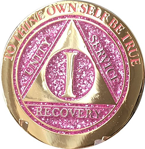 1 Year Elegant Glitter Pink Gold Silver Bi-Plated AA Medallion Chip