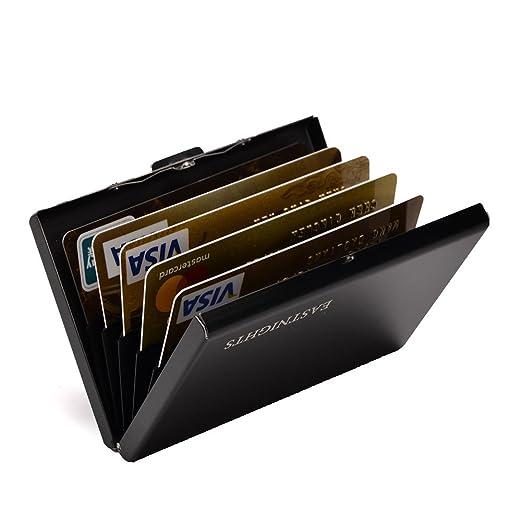 huge selection of 14d56 c2af9 RFID Credit Card Holder Slim Card Wallet with 6 slots Stainless Steel ID  Card Case for Women or Men