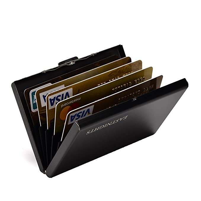 eef0f6345e6a RFID Credit Card Holder Slim Card Wallet with 6 slots Stainless Steel ID  Card Case for Women or Men