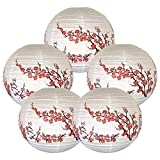 """Just Artifacts (Set of 5) 16"""" Red Peach Blossom Flowers White Color Chinese/Japanese Paper Lantern/Lamp - Just Artifacts Brand"""