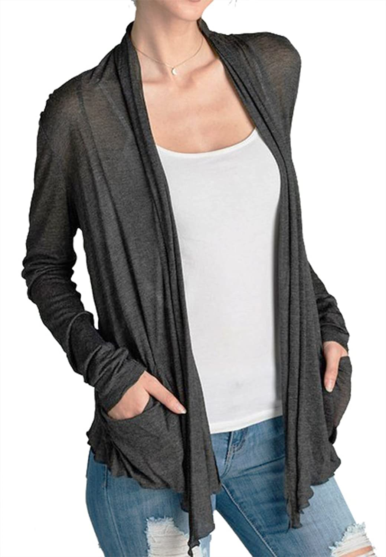 ACTIVE BASIC Women's Basic Semi-Sheer Lightweight Open Front Cardigan (1X, Charcoal)