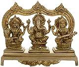 """Kapasi Handicrafts Brass Ganesh Laxmi Sarasvati Sitting on Singhasan Idol Statue ( 10"""" x 4"""" x 8"""" inch , Golden)"""