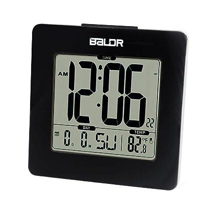 BALDR Reloj Digital Reloj Digital Reloj Hora Fecha y Temperatura Interior Retroiluminación Azul , black