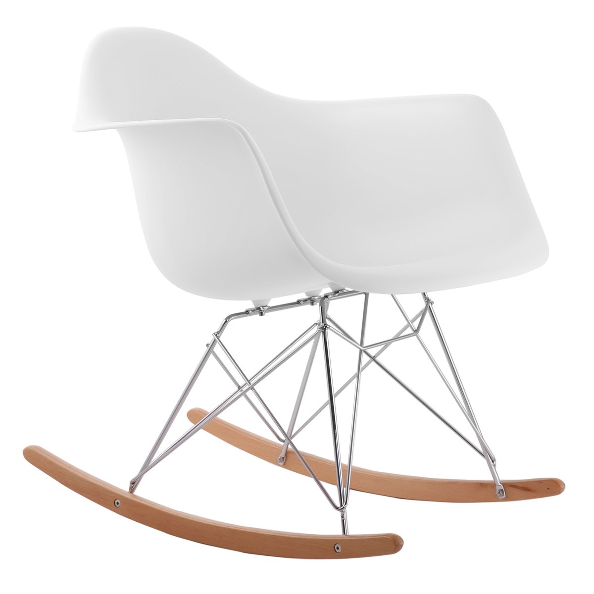 Charles Bentley Retro Designer Inspired Lounge Dining Rocking Side Arm Chair White - Various Colours
