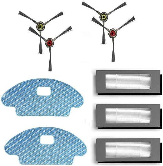 LongRong 4 cepillos laterales, 3 filtros, 2 paños para Ecovacs ...
