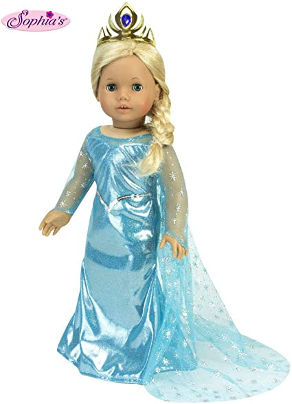 """Queen Elsa Costume Gown Dress w Tiara for American Girl 18/"""" Doll Clothes US SALE"""