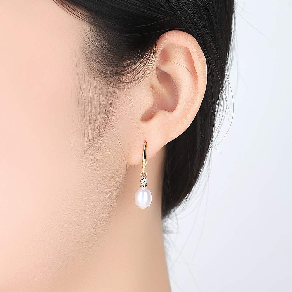 18k Yellow Gold Plated Sterling Silver Freshwater Cultured Drop Pearl Earring