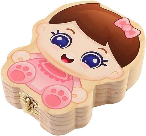 Caja de dientes, tumao caja de recuerdos para dientes de leche de los niños caja de memoria caja puerta Ratoncito Pérez de madera regalo bebé niños – inglés, Niño y Niña 6.50x4.92x1.38