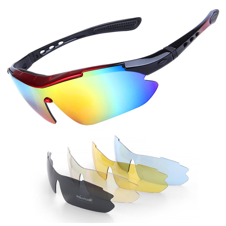 Hltd Polarized Sports Sunglasses 5 set Objectifs interchangeables UV400 Protection Sports Lunettes de soleil pour les sports d'extérieur Cyclisme Course à pied Randonnée pédestre Ski Tl1aaG2vQ
