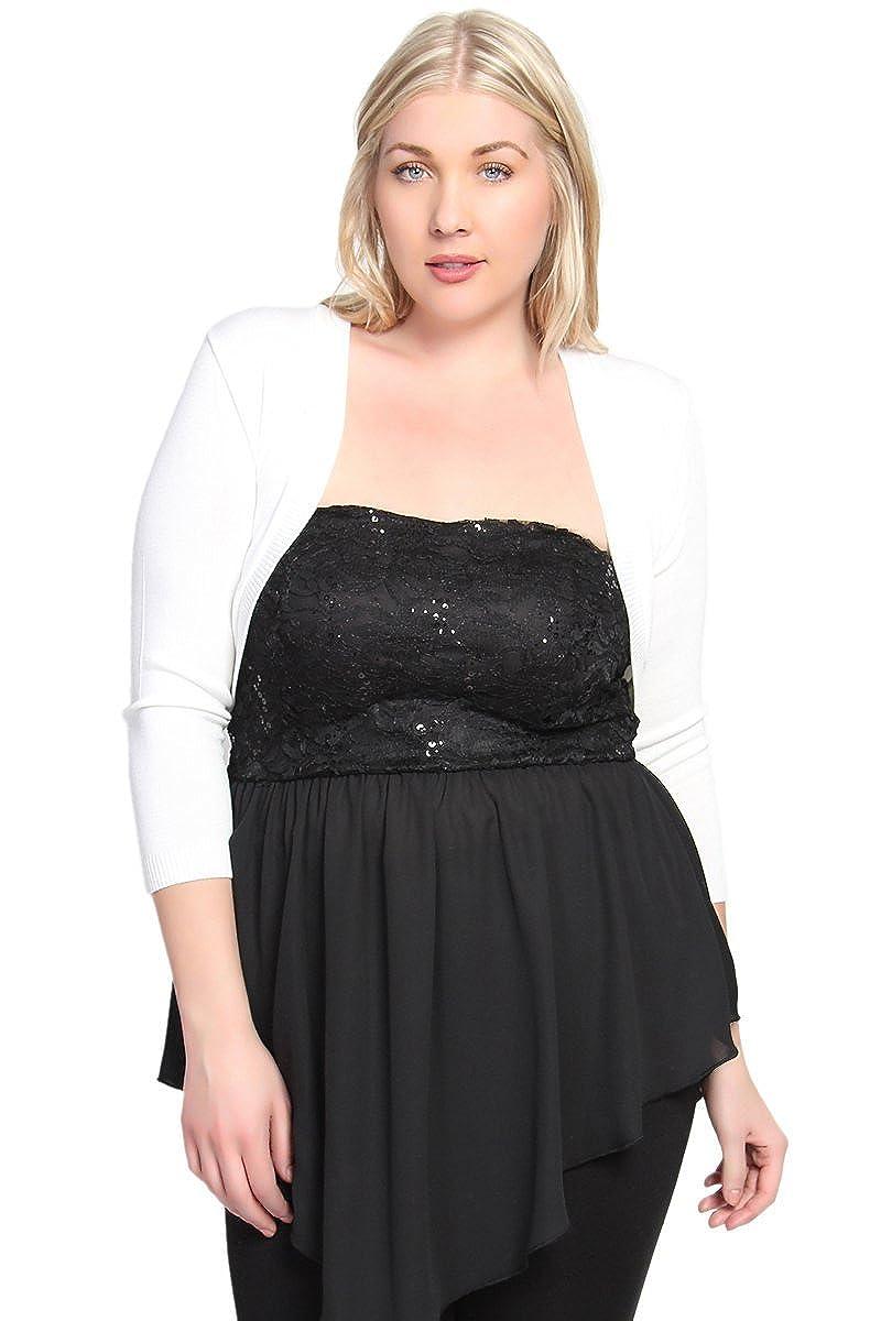 TheMogan Women's Plus Size 3/4 Sleeve Rib Knit Bolero Shrug Open Crop Cardigan