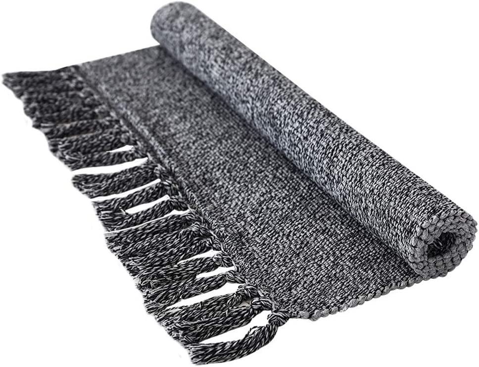 Wolala Home Comfortable Reversible Hand Woven with Tassels Cotton Kitchen Decor Rug Mats Throw Rugs for Bedroom/Bathroom/Laundry Room/Entryway (2'x3', Dark Gray)