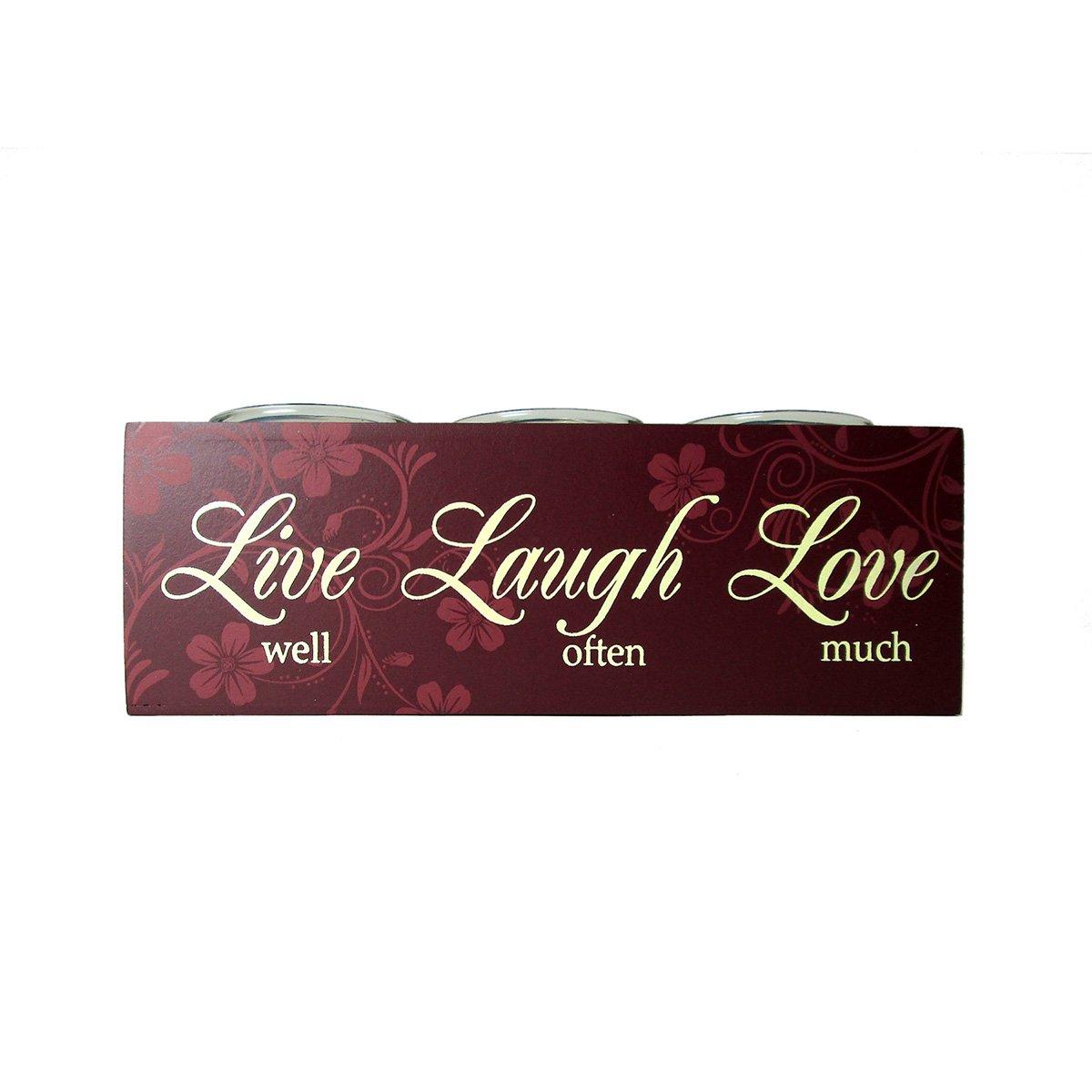 Sentimental 3-Glass Candle Holder Set on Wooden Base - Live, Laugh, Love