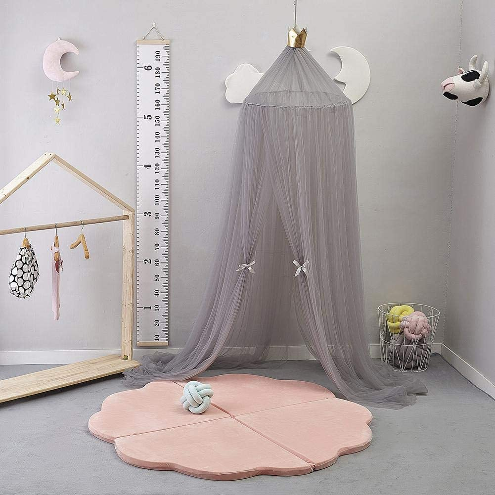 Luukiy Childrens Dome Mosquito Net Tent Bed Canopy Mosquito Net Bed Linen with Round Lace Baby Boys Girls Games House sky blue