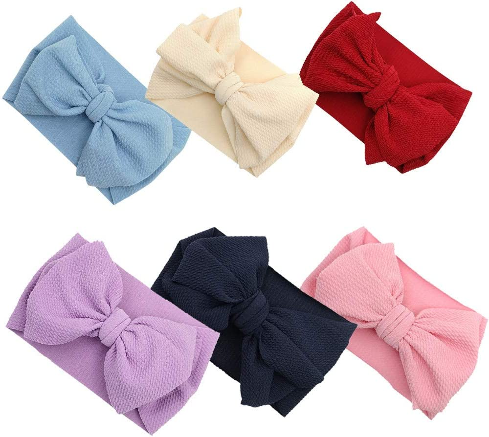 6pcs Headband Diadia Newborn Girls Baby Toddler Small Fabric Bow Accessories Nylon Headband Hair Band Accessory E