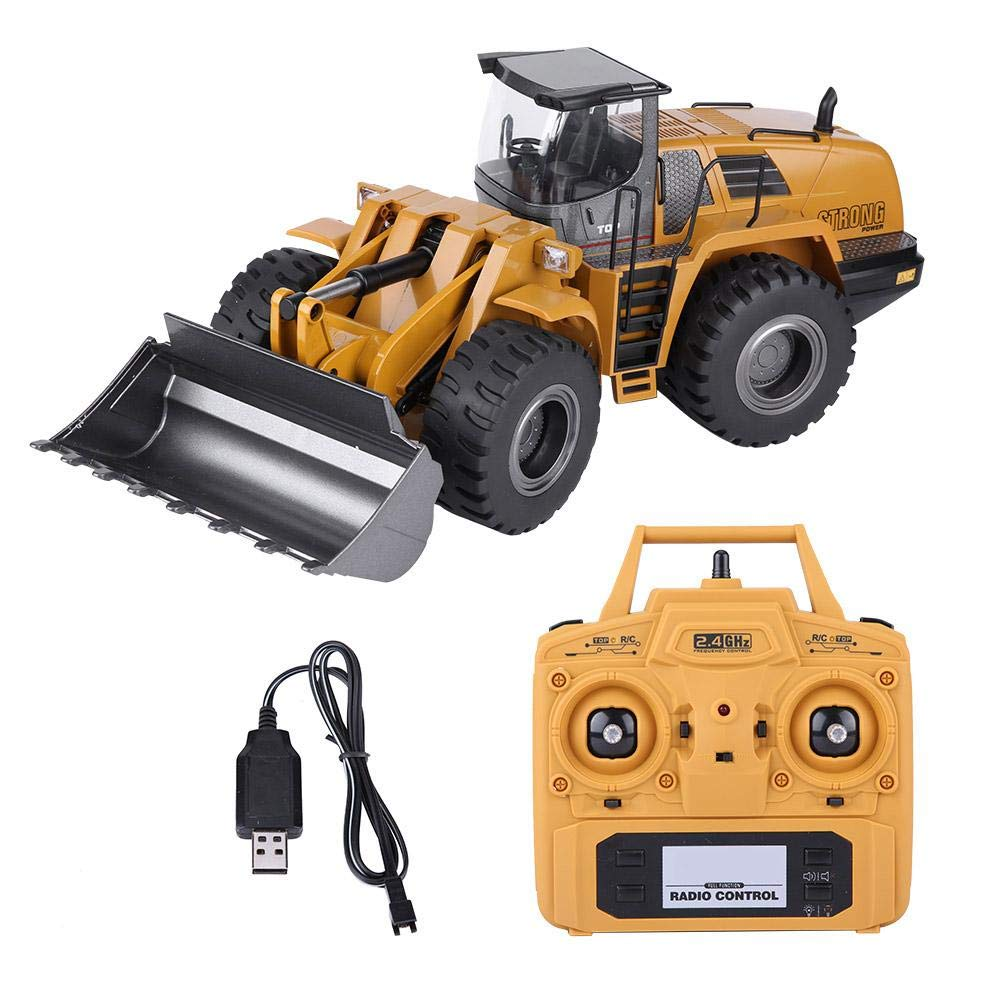 Jadpes Remote Control Toy Excavator, 2.4G 1:14 RC Full Function Electric Truck Remote Control Model RC Excavator Engineering Vehicle Toy for Children's Gift with Lights