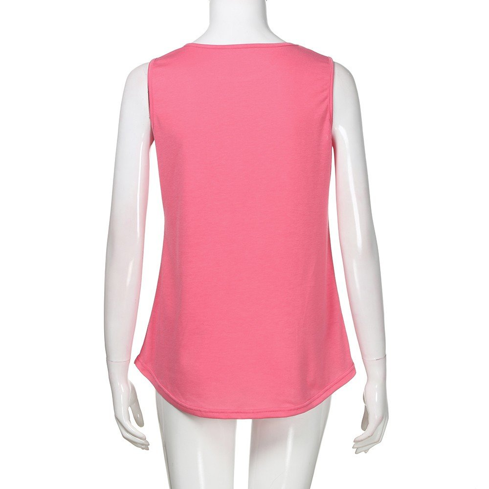 Solid Color Vest for Women, Gogoodgo Ladies Loose O Neck Swing Hem Tank Top Soft Fabric Sleeveless Classic Tops Pink by Gogoodgo vest (Image #7)