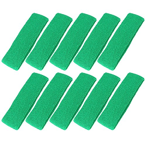 Mallofusa 10 PCS Cotton Sports Basketball Headband / Sweatband Head Sweat Band/brace Gift Party Outdoor Activities - Green Sport