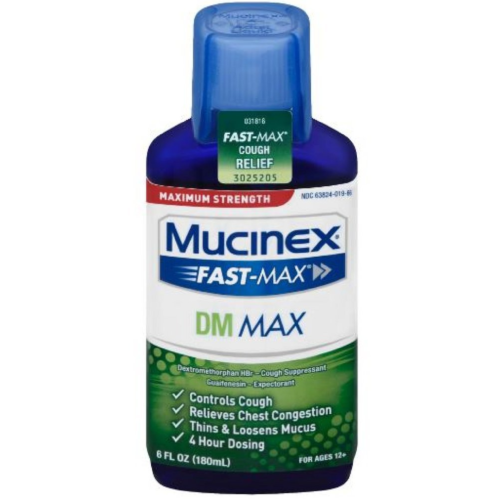 Mucinex Fast-Max Adult DM Expectorant and Cough Suppressant Liquid, 6 oz (Pack of 3) by Mucinex