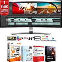 LG 34UC98 UltraWide WQHD IPS Curved LED (3440x1440) 34 Monitor + Elite Suite 18 Standard Editing Software Bundle + 1 Year Extended Warranty