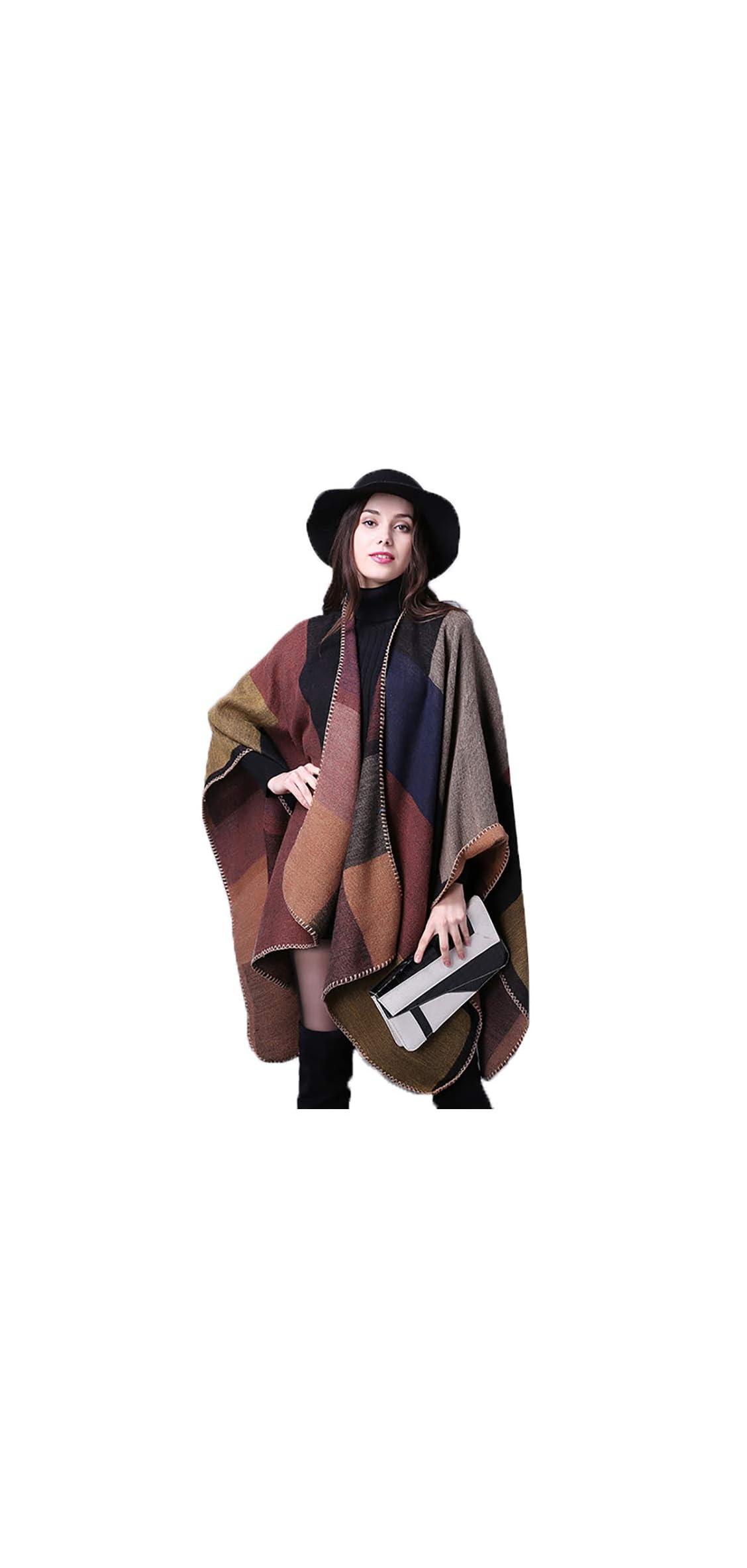Women's Color Block Shawl Wrap Plus Size Cardigan Poncho