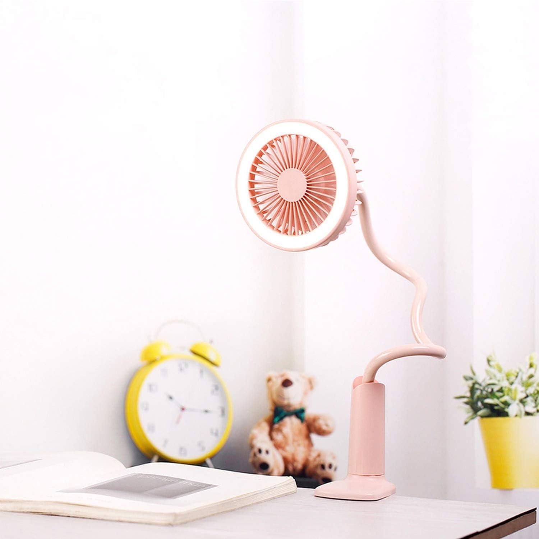 Portable USB Fan Flexible with Light 2 Speed Adjustable Cooler Mini Fan Handy Small Desk Desktop USB Cooling Fan for Child,Pink
