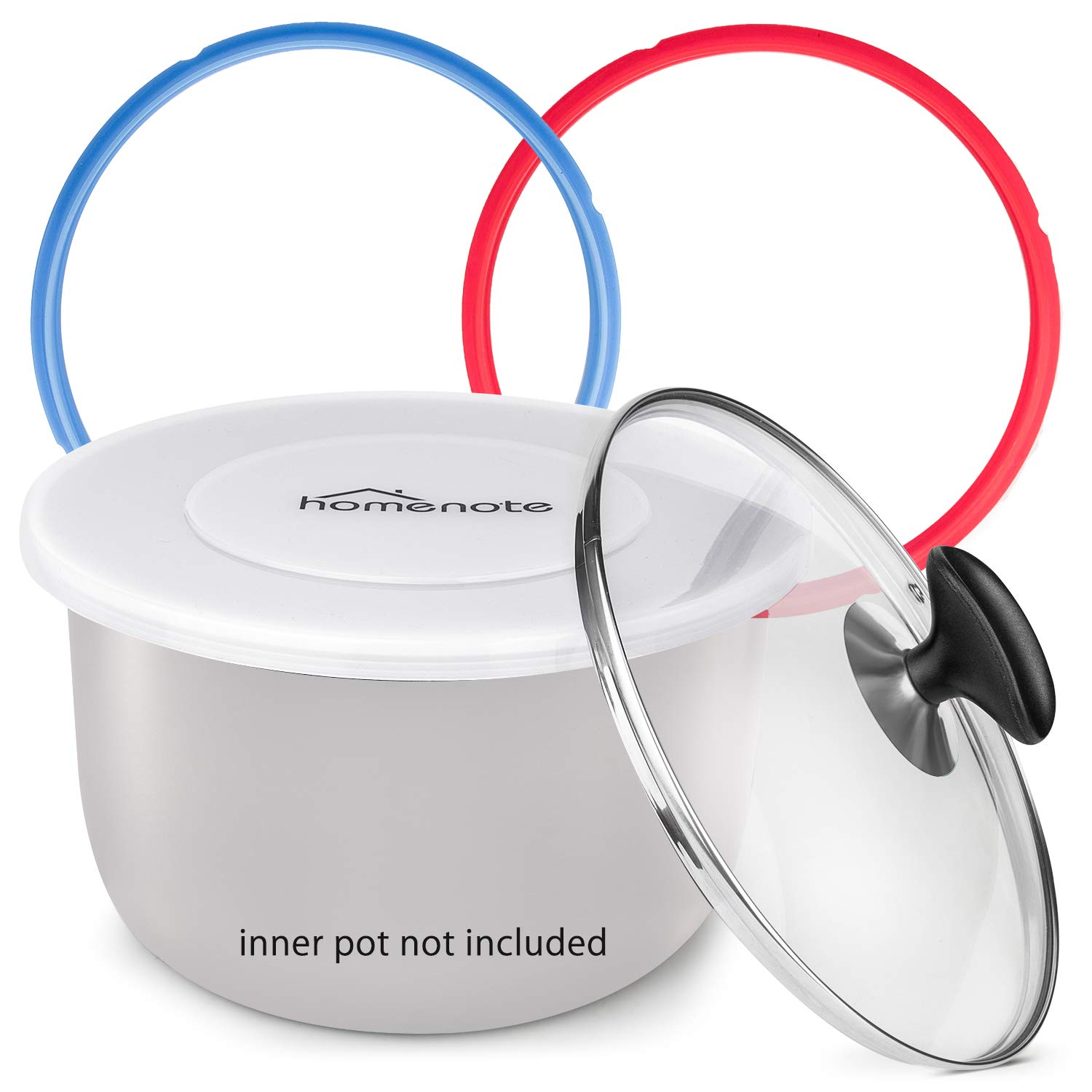 HOMENOTE Pressure Cooker Accessories Compatible with Instant Pot 6qt Only- Best Value Set includes 2 Pack Sealing Ring, Tempered Glass Lid, Silicone Lid, Steam Release