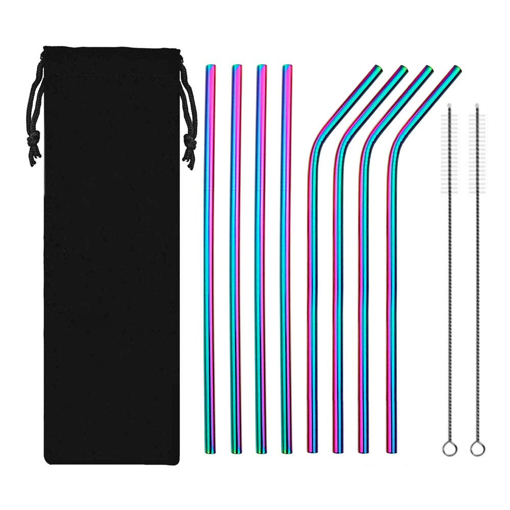 Stainless Steel Drinking Metal Straws, Rainbow Multi-Colored Straw, Set of 8 Stainless Steel Straws, Reusable Straws (Multicolor) by TOPIA STAR